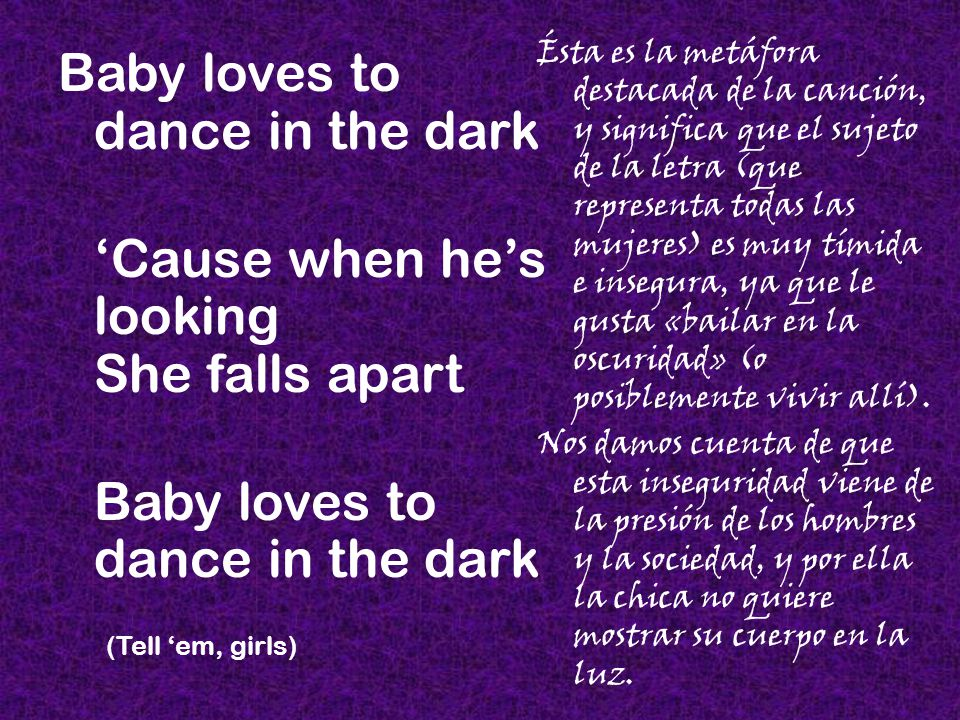 Run run Her kiss is a vampire grin The moon lights her way while shes howling at him Estas alusiones a los vampiros y los lobos representan el «animal interior» (un término que usó la Mujer Gaga) de la mujer, la parte reprimida, que anhela liberarse.