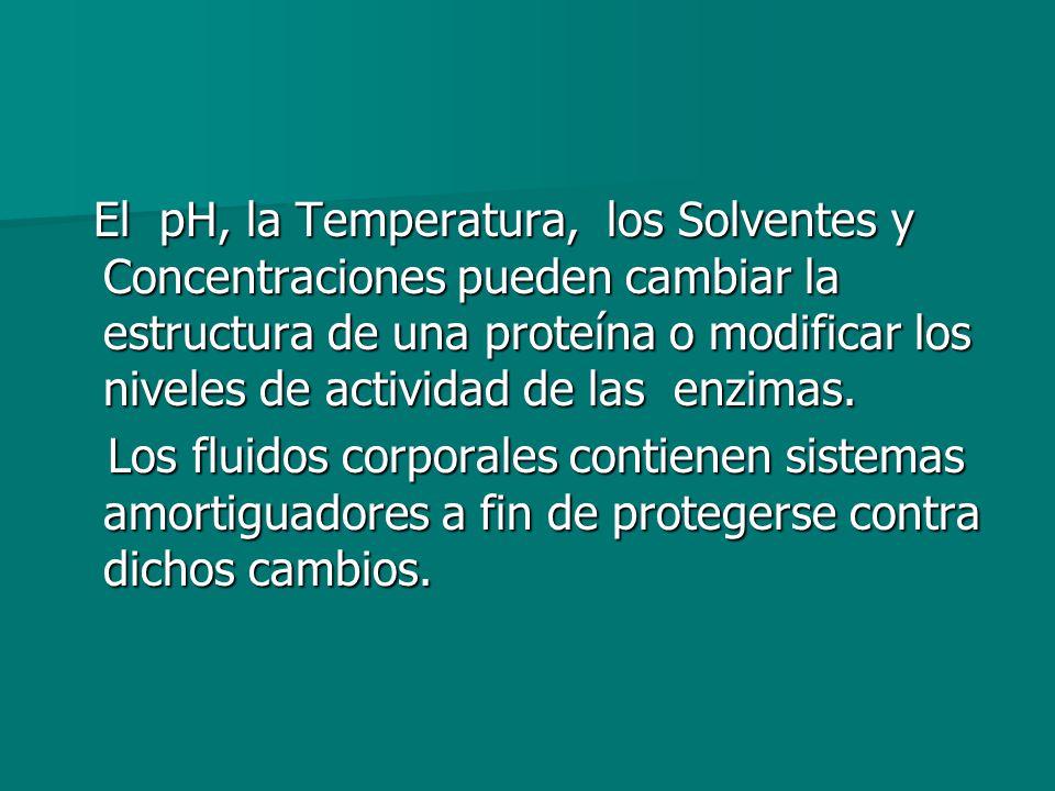 El pH, la Temperatura, los Solventes y Concentraciones pueden cambiar la estructura de una proteína o modificar los niveles de actividad de las enzima