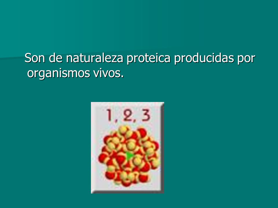 Son de naturaleza proteica producidas por organismos vivos. Son de naturaleza proteica producidas por organismos vivos.