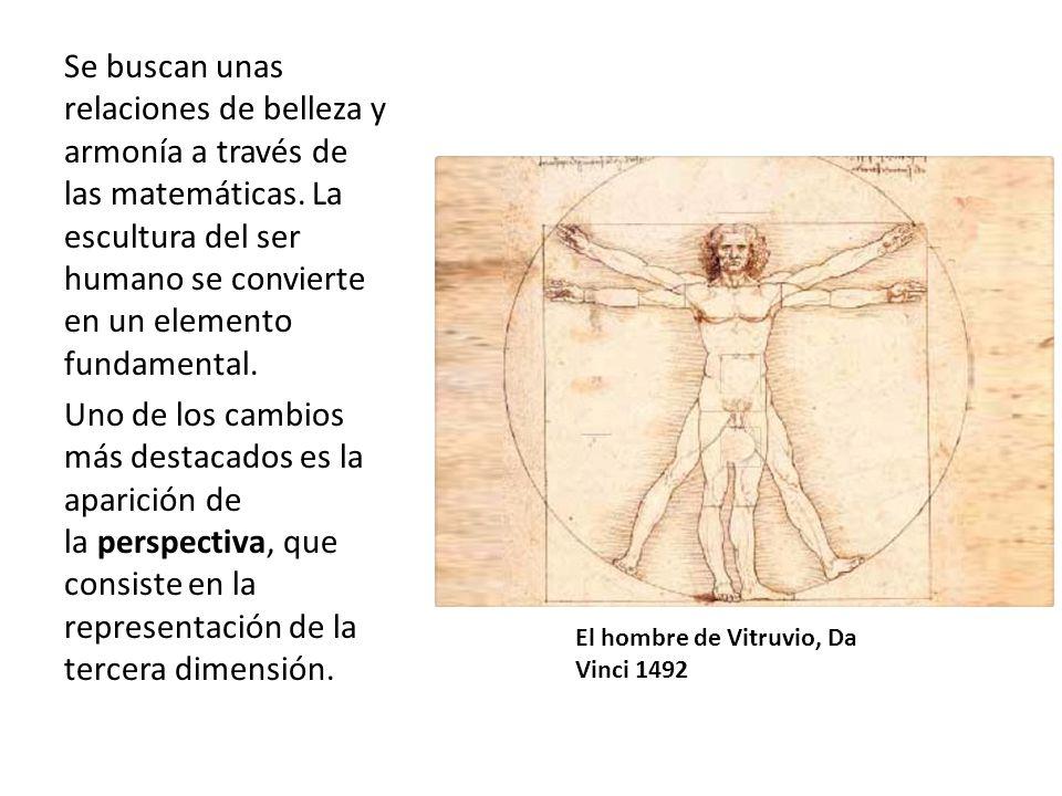 El hombre de Vitruvio, Da Vinci 1492 Se buscan unas relaciones de belleza y armonía a través de las matemáticas. La escultura del ser humano se convie