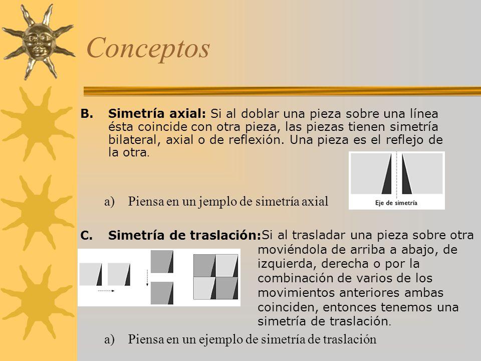 Conceptos B.Simetría axial: Si al doblar una pieza sobre una línea ésta coincide con otra pieza, las piezas tienen simetría bilateral, axial o de refl