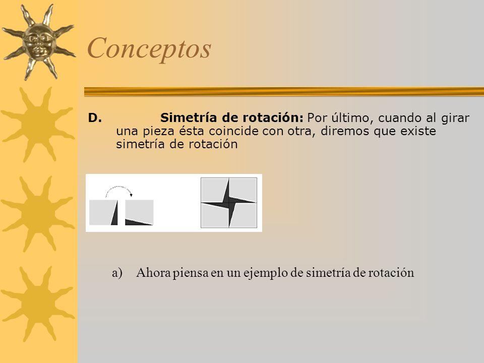 Conceptos D.Simetría de rotación: Por último, cuando al girar una pieza ésta coincide con otra, diremos que existe simetría de rotación a)Ahora piensa