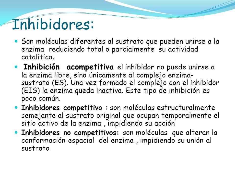 Inhibidores: Son moléculas diferentes al sustrato que pueden unirse a la enzima reduciendo total o parcialmente su actividad catalítica. Inhibición ac