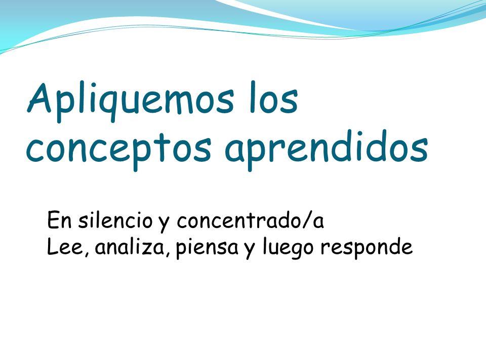 Apliquemos los conceptos aprendidos En silencio y concentrado/a Lee, analiza, piensa y luego responde