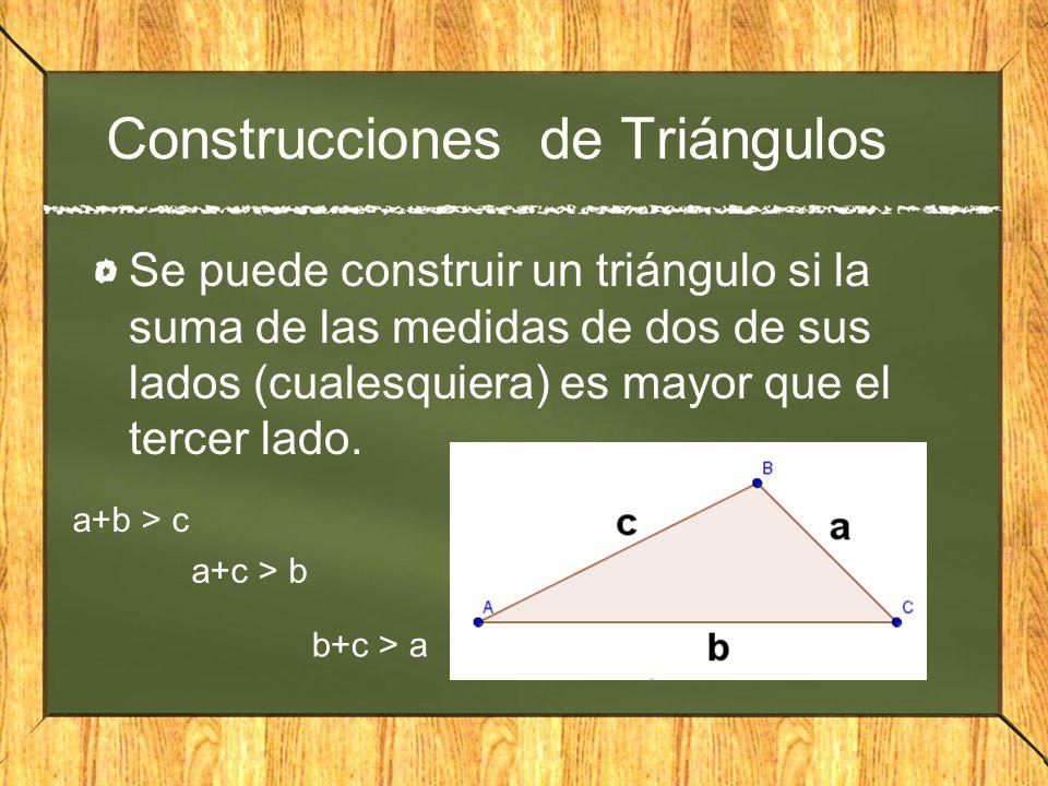 Construcciones de Triángulos Se puede construir un triángulo si la suma de las medidas de dos de sus lados (cualesquiera) es mayor que el tercer lado.