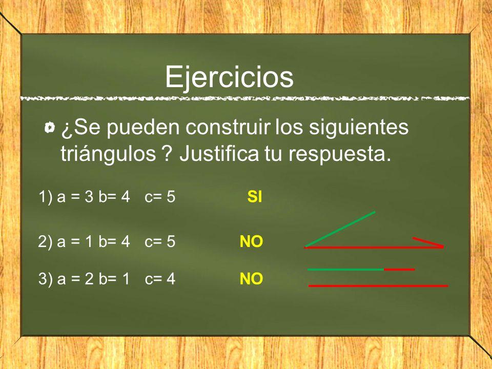 Ejercicios ¿Se pueden construir los siguientes triángulos ? Justifica tu respuesta. 1) a = 3 b= 4 c= 5 2) a = 1 b= 4 c= 5 3) a = 2 b= 1 c= 4 SI NO