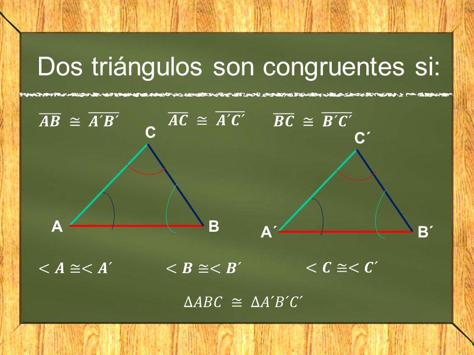 Dos triángulos son congruentes si: A C B A´ C´ B´