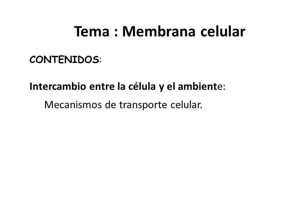 Tema : Membrana celular CONTENIDOS: Intercambio entre la célula y el ambiente: Mecanismos de transporte celular.