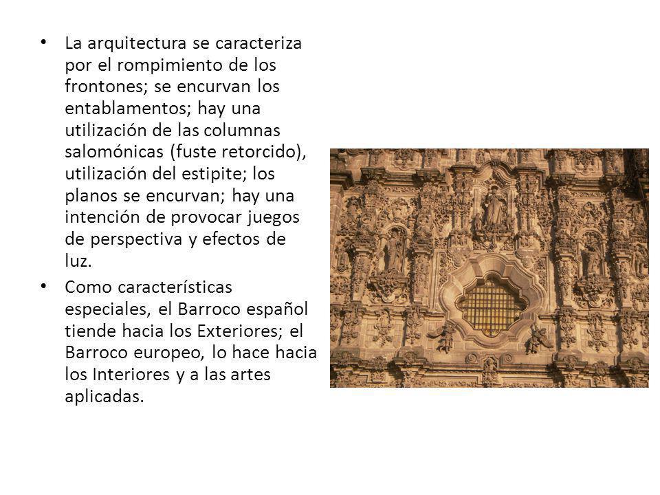 La arquitectura se caracteriza por el rompimiento de los frontones; se encurvan los entablamentos; hay una utilización de las columnas salomónicas (fu