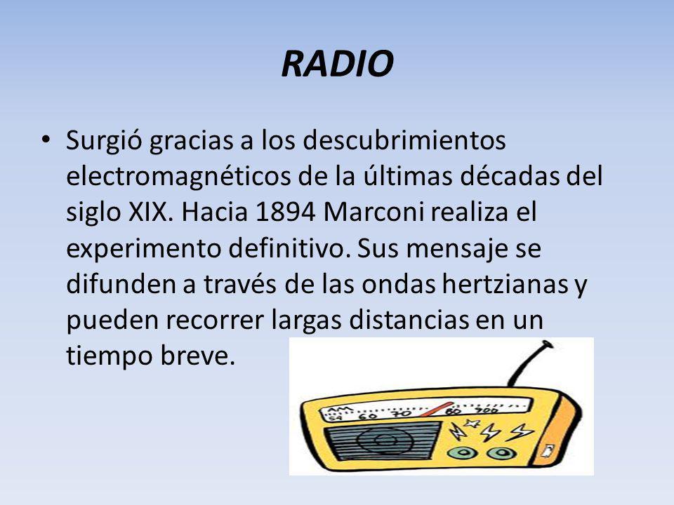 RADIO Surgió gracias a los descubrimientos electromagnéticos de la últimas décadas del siglo XIX.