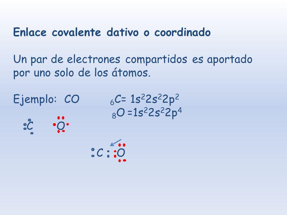 Enlace covalente dativo o coordinado Un par de electrones compartidos es aportado por uno solo de los átomos. Ejemplo: CO 6 C= 1s 2 2s 2 2p 2 8 O =1s