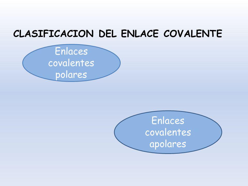 CLASIFICACION DEL ENLACE COVALENTE Enlaces covalentes polares Enlaces covalentes apolares