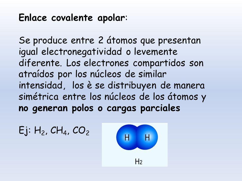 Enlace covalente apolar: Se produce entre 2 átomos que presentan igual electronegatividad o levemente diferente. Los electrones compartidos son atraíd