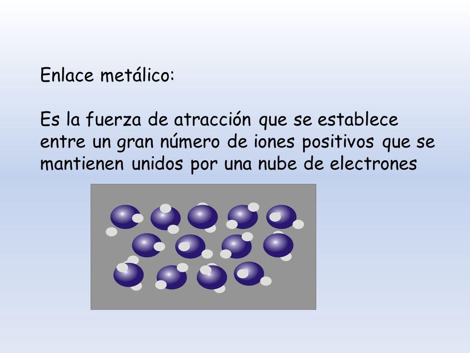Enlace metálico: Es la fuerza de atracción que se establece entre un gran número de iones positivos que se mantienen unidos por una nube de electrones
