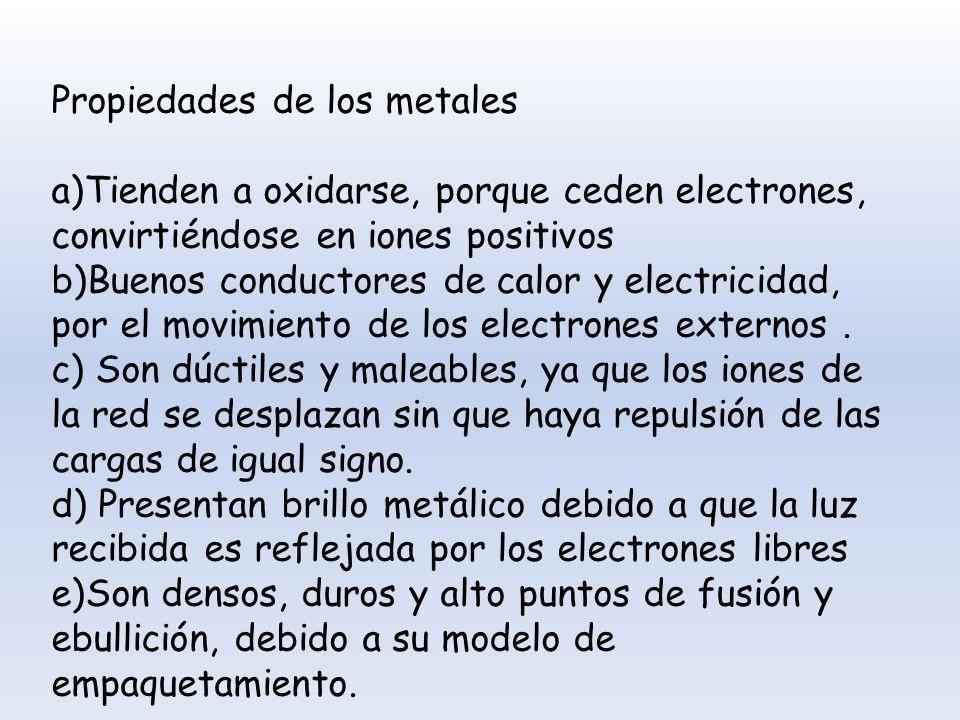 Propiedades de los metales a)Tienden a oxidarse, porque ceden electrones, convirtiéndose en iones positivos b)Buenos conductores de calor y electricid