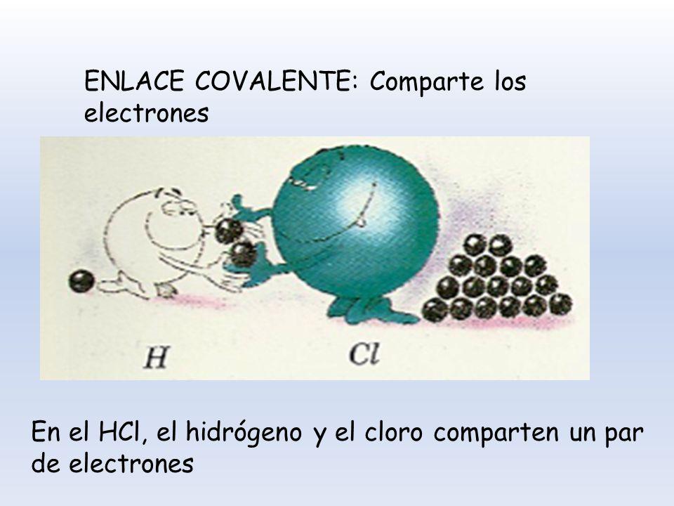 ENLACE COVALENTE: Comparte los electrones En el HCl, el hidrógeno y el cloro comparten un par de electrones