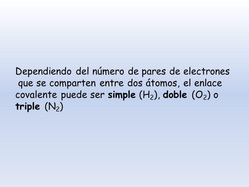 Dependiendo del número de pares de electrones que se comparten entre dos átomos, el enlace covalente puede ser simple (H 2 ), doble (O 2 ) o triple (N
