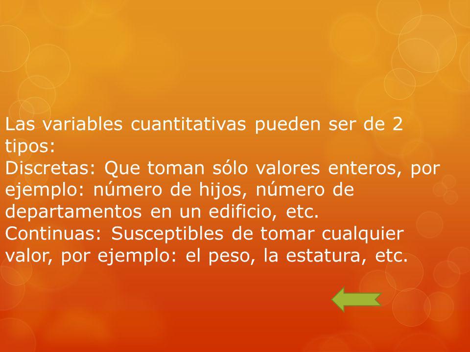 Las variables cuantitativas pueden ser de 2 tipos: Discretas: Que toman sólo valores enteros, por ejemplo: número de hijos, número de departamentos en