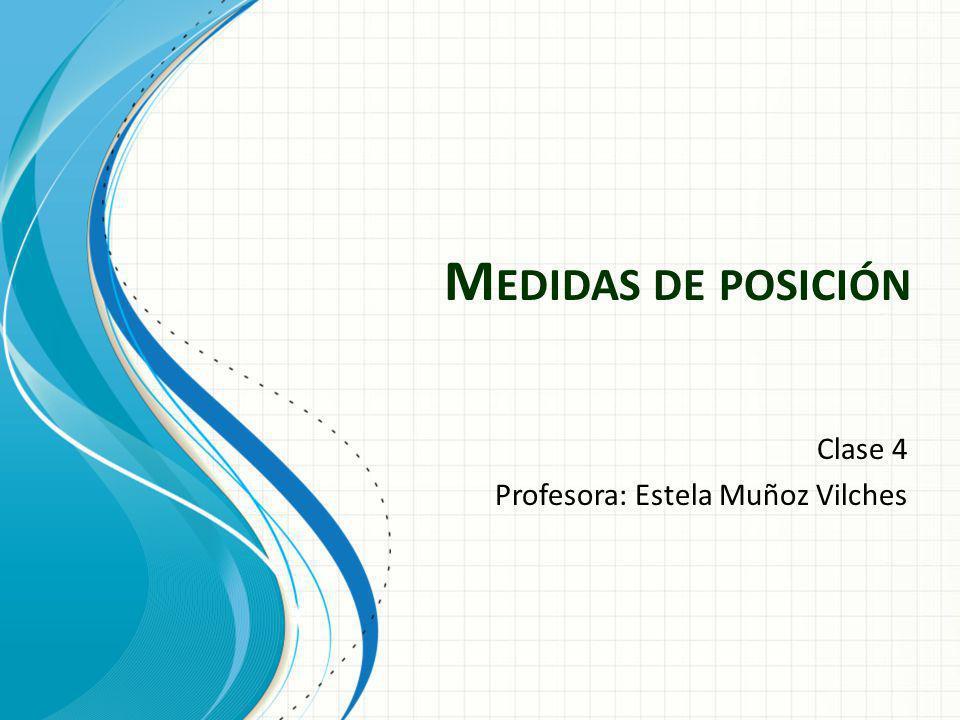 M EDIDAS DE POSICIÓN Clase 4 Profesora: Estela Muñoz Vilches