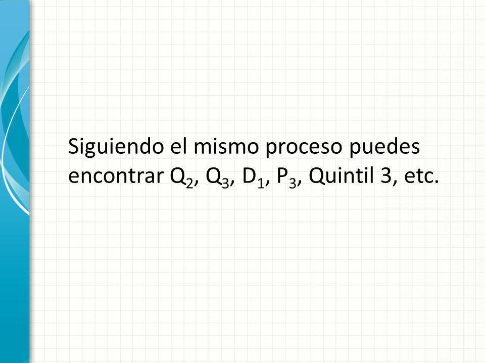 Siguiendo el mismo proceso puedes encontrar Q 2, Q 3, D 1, P 3, Quintil 3, etc.