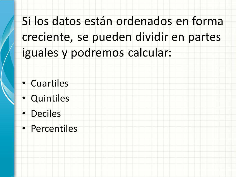 Los Cuartiles son los tres valores de una distribución que la dividen en cuatro partes iguales.