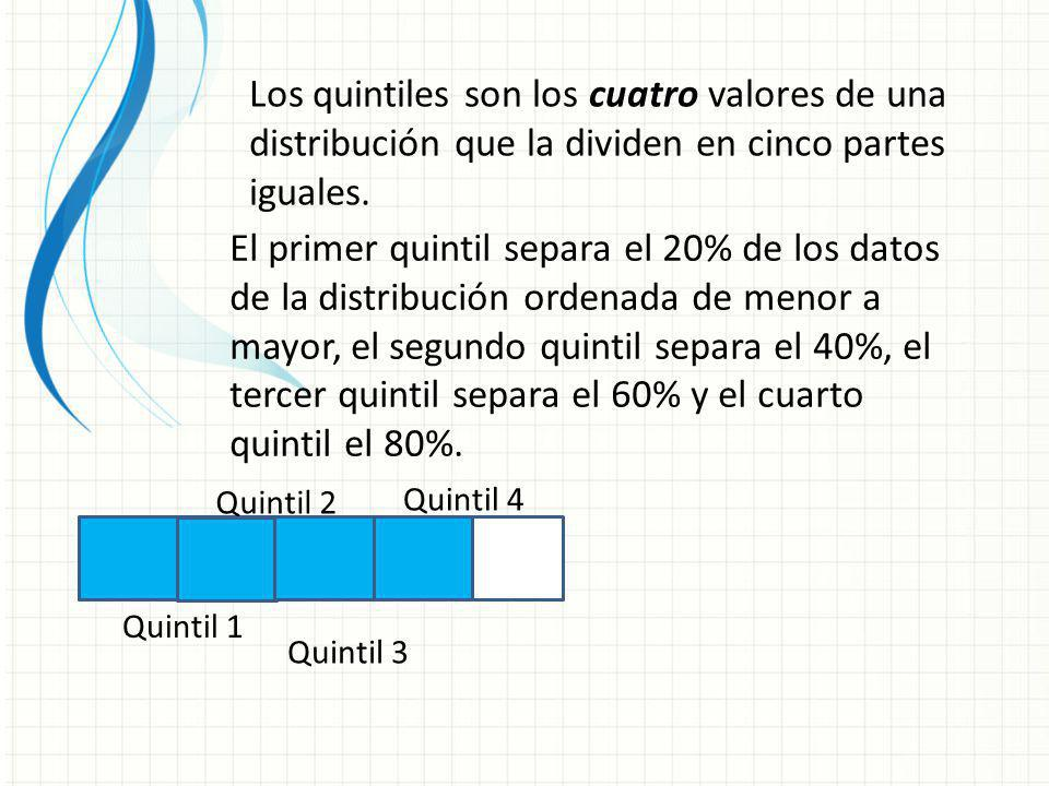 Los quintiles son los cuatro valores de una distribución que la dividen en cinco partes iguales. El primer quintil separa el 20% de los datos de la di