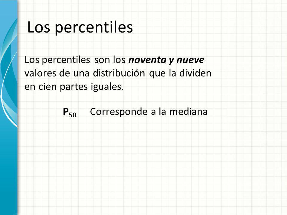 Los percentiles Los percentiles son los noventa y nueve valores de una distribución que la dividen en cien partes iguales. P 50 Corresponde a la media