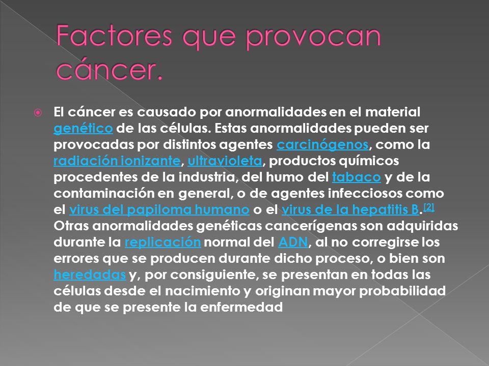 El cáncer es causado por anormalidades en el material genético de las células. Estas anormalidades pueden ser provocadas por distintos agentes carcinó