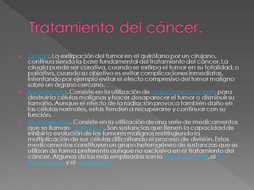 Cirugía. La extirpación del tumor en el quirófano por un cirujano, continua siendo la base fundamental del tratamiento del cáncer. La cirugía puede se