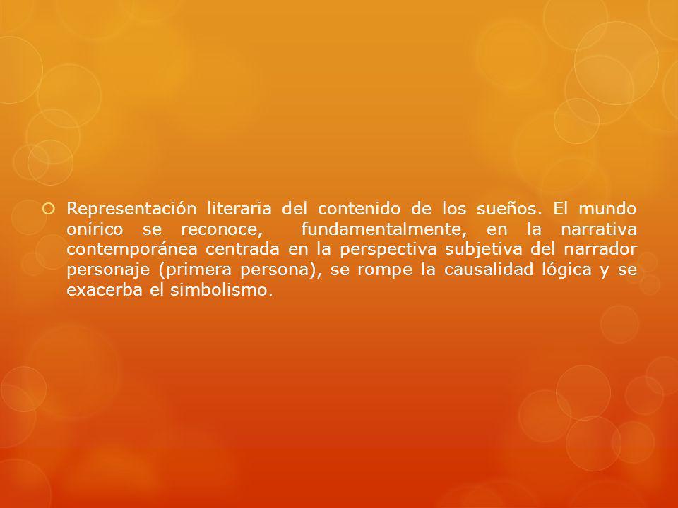 Representación literaria del contenido de los sueños. El mundo onírico se reconoce, fundamentalmente, en la narrativa contemporánea centrada en la per
