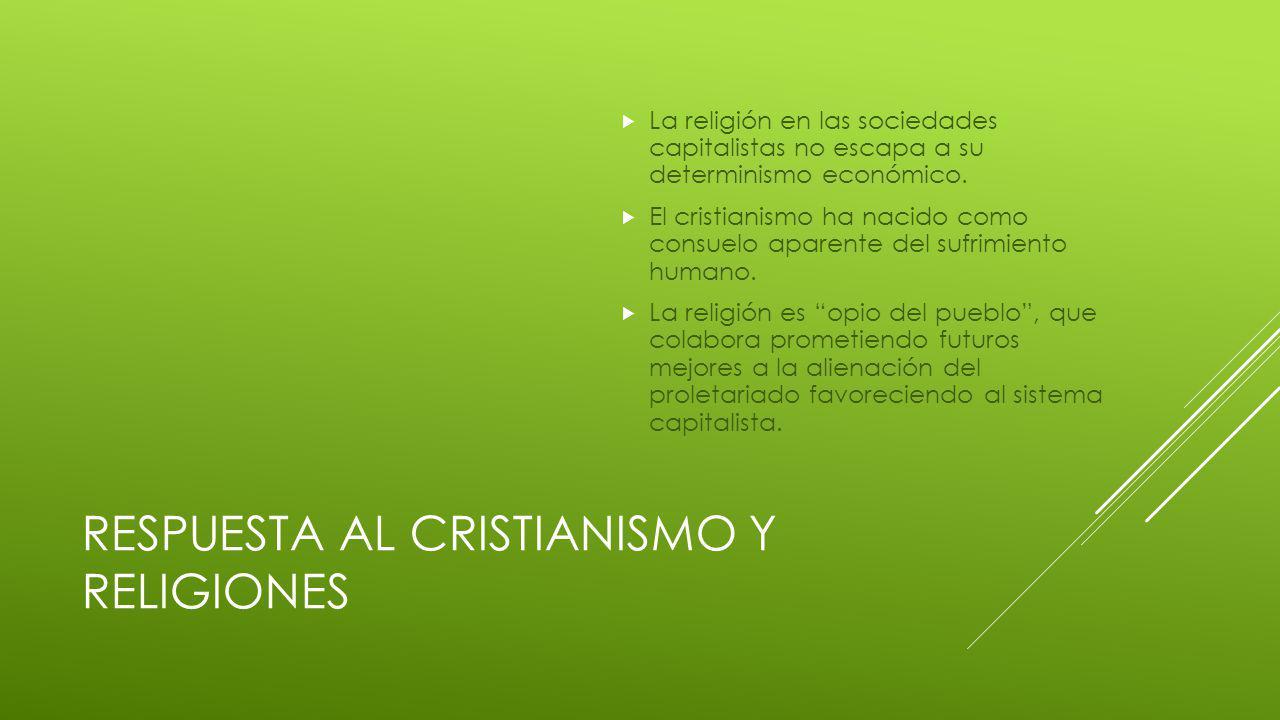 RESPUESTA AL CRISTIANISMO Y RELIGIONES La religión en las sociedades capitalistas no escapa a su determinismo económico.