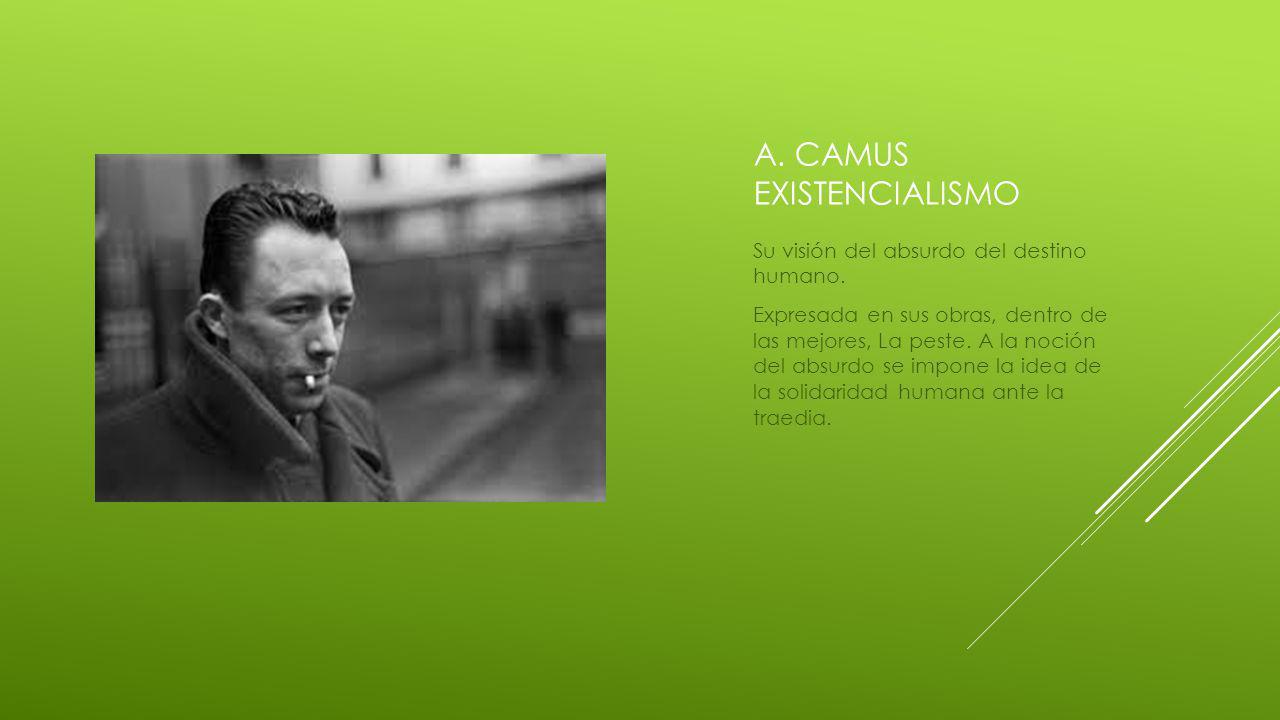 A.CAMUS EXISTENCIALISMO Su visión del absurdo del destino humano.