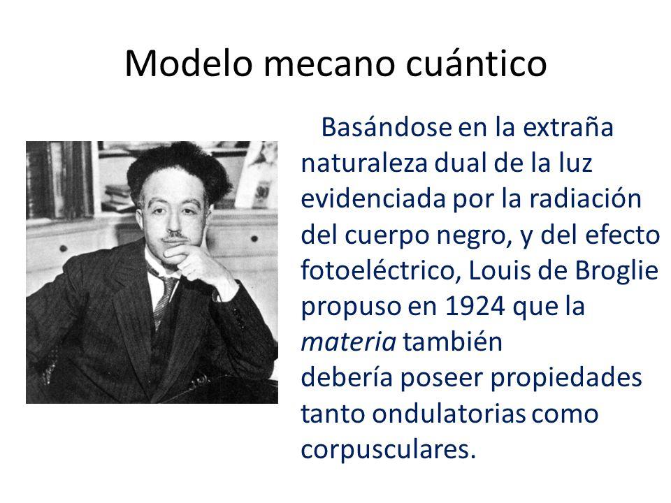 Modelo mecano cuántico Basándose en la extraña naturaleza dual de la luz evidenciada por la radiación del cuerpo negro, y del efecto fotoeléctrico, Louis de Broglie propuso en 1924 que la materia también debería poseer propiedades tanto ondulatorias como corpusculares.