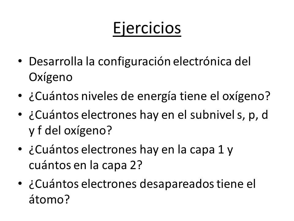 Ejercicios Desarrolla la configuración electrónica del Oxígeno ¿Cuántos niveles de energía tiene el oxígeno.