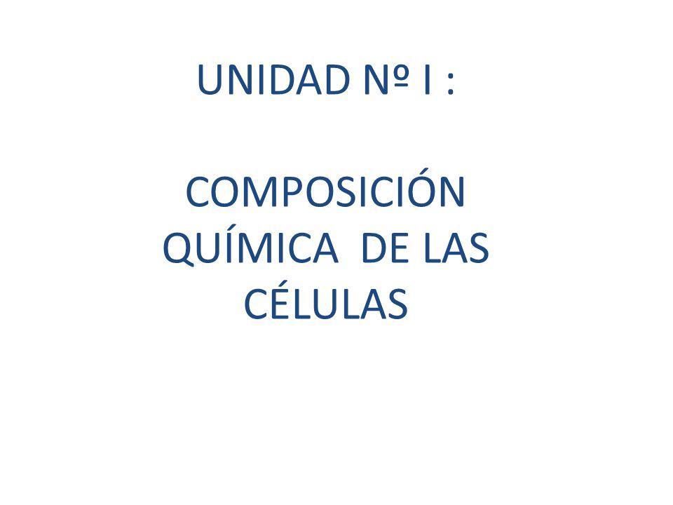 UNIDAD Nº I : COMPOSICIÓN QUÍMICA DE LAS CÉLULAS