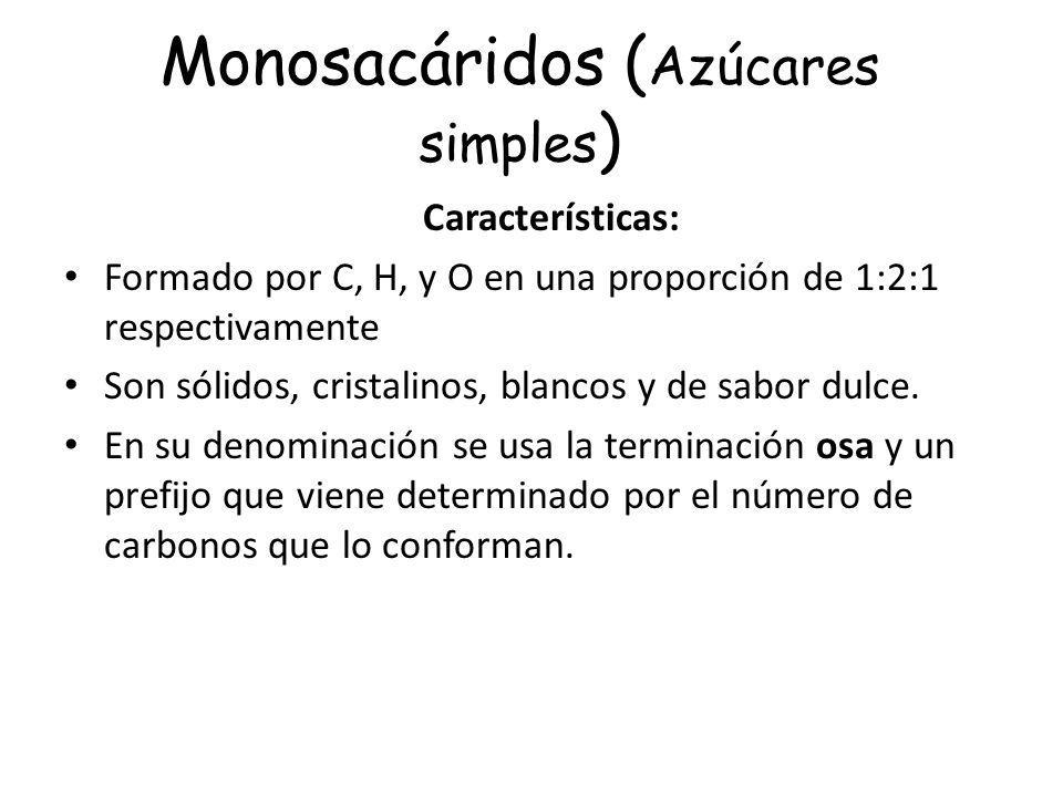 Monosacáridos ( Azúcares simples ) Características: Formado por C, H, y O en una proporción de 1:2:1 respectivamente Son sólidos, cristalinos, blancos