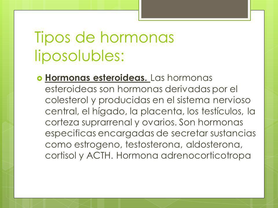 Tipos de hormonas liposolubles: Hormonas esteroideas. Las hormonas esteroideas son hormonas derivadas por el colesterol y producidas en el sistema ner