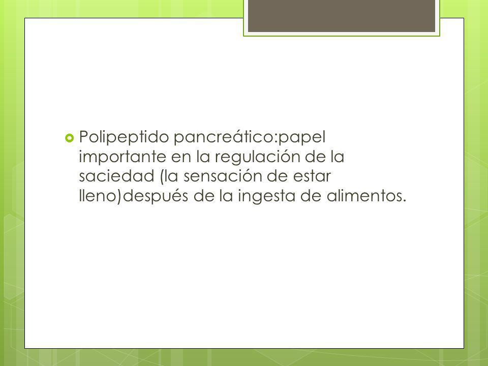 Polipeptido pancreático:papel importante en la regulación de la saciedad (la sensación de estar lleno)después de la ingesta de alimentos.