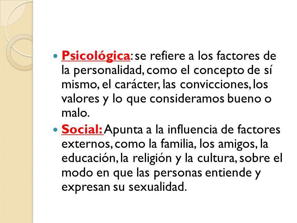 Psicológica: se refiere a los factores de la personalidad, como el concepto de sí mismo, el carácter, las convicciones, los valores y lo que consideramos bueno o malo.