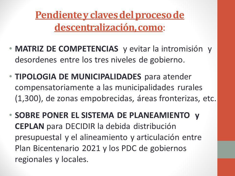 Pendiente y claves del proceso de descentralización, como: MATRIZ DE COMPETENCIAS y evitar la intromisión y desordenes entre los tres niveles de gobierno.