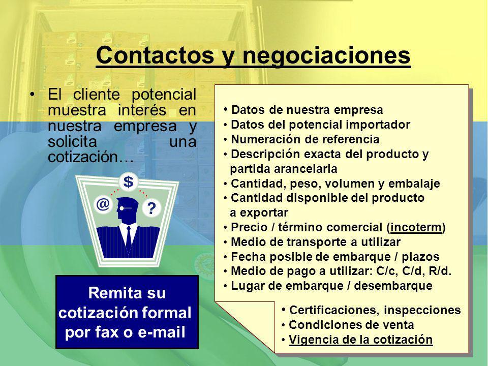 El cliente potencial muestra interés en nuestra empresa y solicita una cotización… Contactos y negociaciones Datos de nuestra empresa Datos del potenc