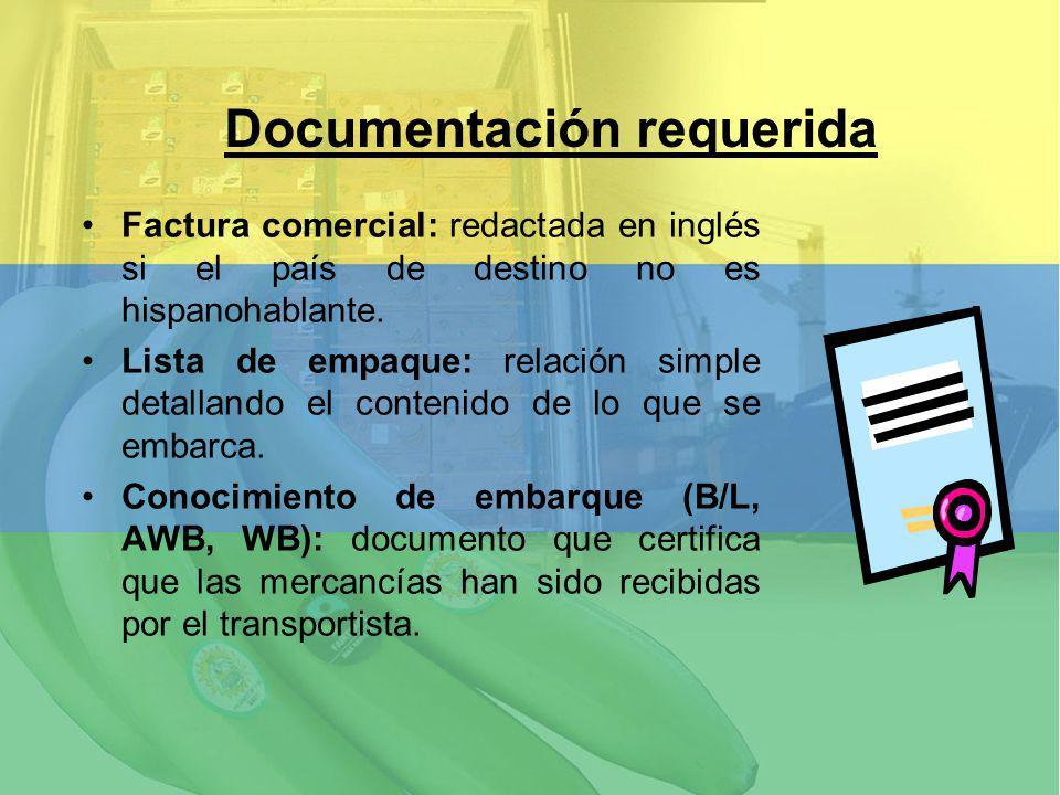Factura comercial: redactada en inglés si el país de destino no es hispanohablante. Lista de empaque: relación simple detallando el contenido de lo qu