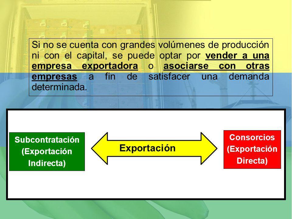 Si no se cuenta con grandes volúmenes de producción ni con el capital, se puede optar por vender a una empresa exportadora o asociarse con otras empre