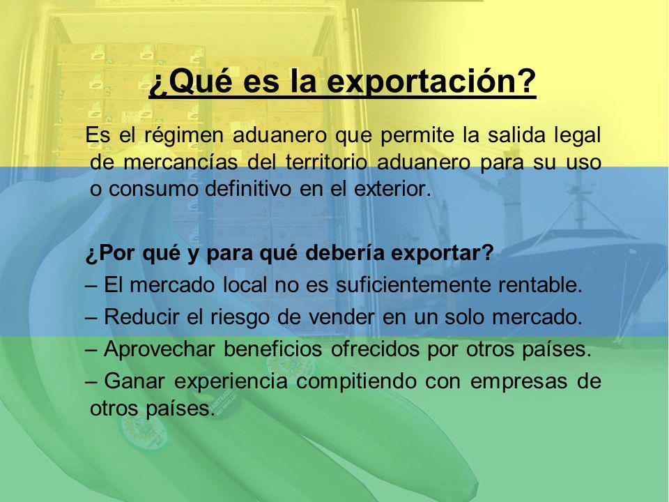 Es el régimen aduanero que permite la salida legal de mercancías del territorio aduanero para su uso o consumo definitivo en el exterior. ¿Por qué y p