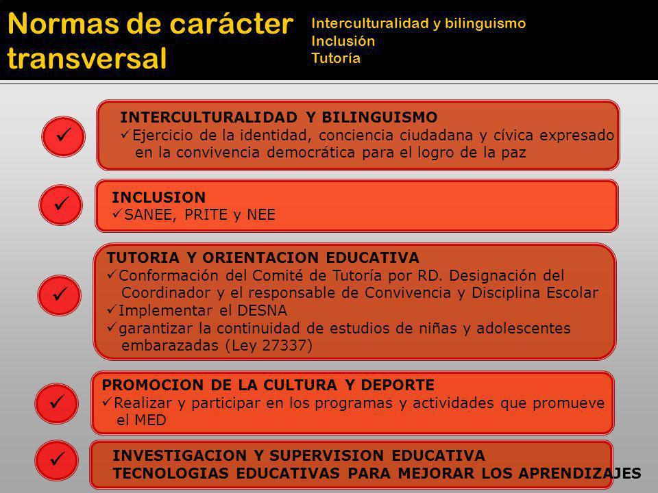 Normas de carácter transversal Interculturalidad y bilinguismo Inclusión Tutoría INTERCULTURALIDAD Y BILINGUISMO Ejercicio de la identidad, conciencia