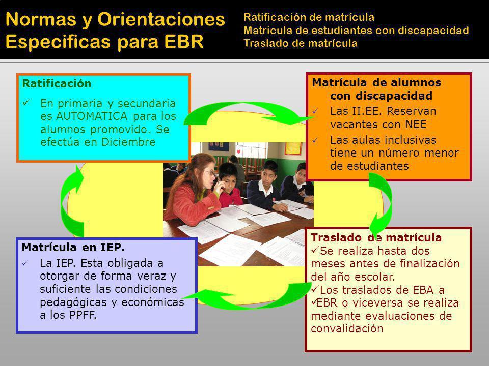 Normas y Orientaciones Especificas para EBR Ratificación de matrícula Matricula de estudiantes con discapacidad Traslado de matrícula Ratificación En
