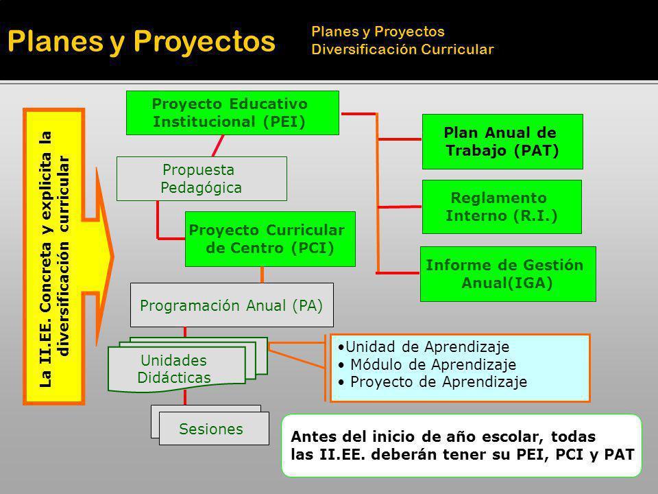 Programación Anual (PA) Proyecto Curricular de Centro (PCI) Propuesta Pedagógica Proyecto Educativo Institucional (PEI) La II.EE. Concreta y explicita
