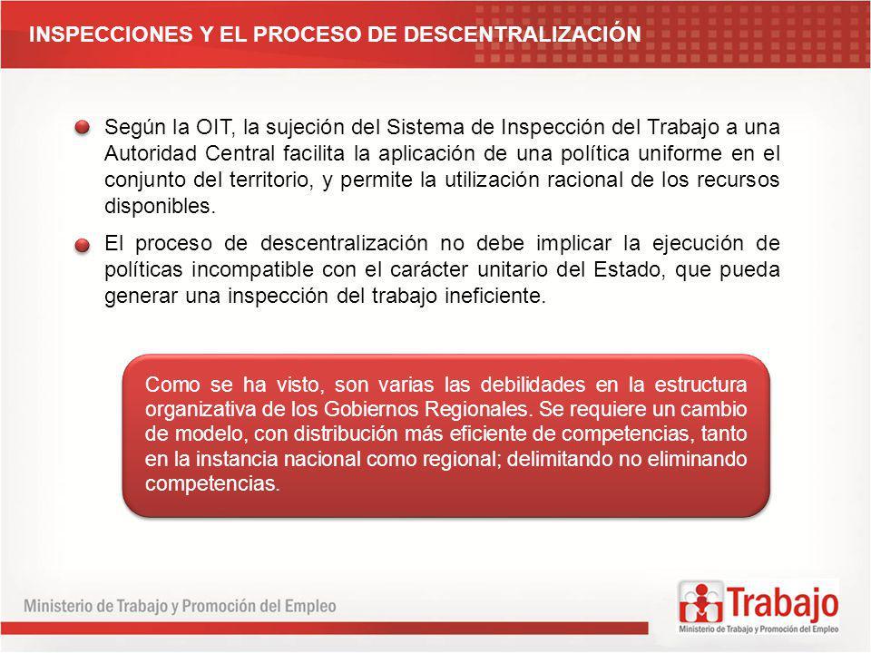 Según la OIT, la sujeción del Sistema de Inspección del Trabajo a una Autoridad Central facilita la aplicación de una política uniforme en el conjunto