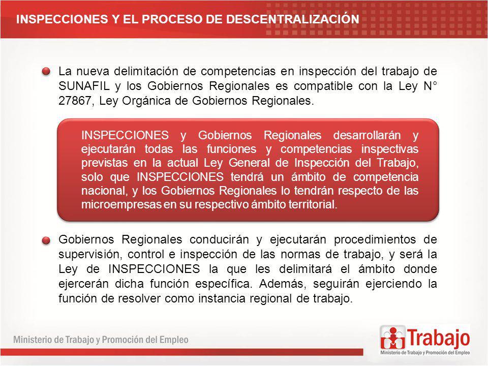 INSPECCIONES Y EL PROCESO DE DESCENTRALIZACIÓN La nueva delimitación de competencias en inspección del trabajo de SUNAFIL y los Gobiernos Regionales e