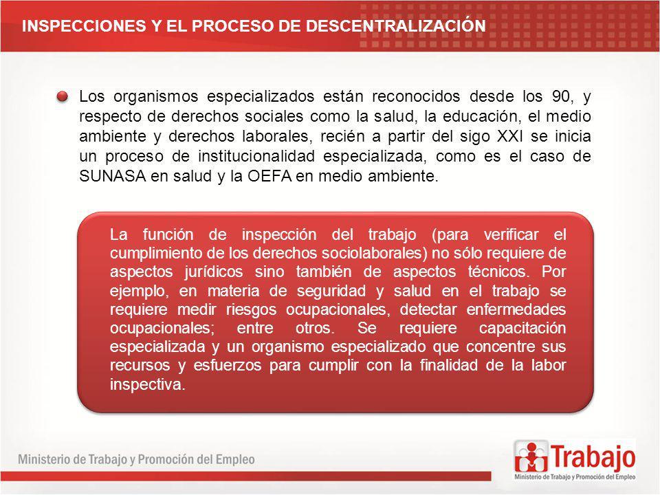 INSPECCIONES Y EL PROCESO DE DESCENTRALIZACIÓN Los organismos especializados están reconocidos desde los 90, y respecto de derechos sociales como la s